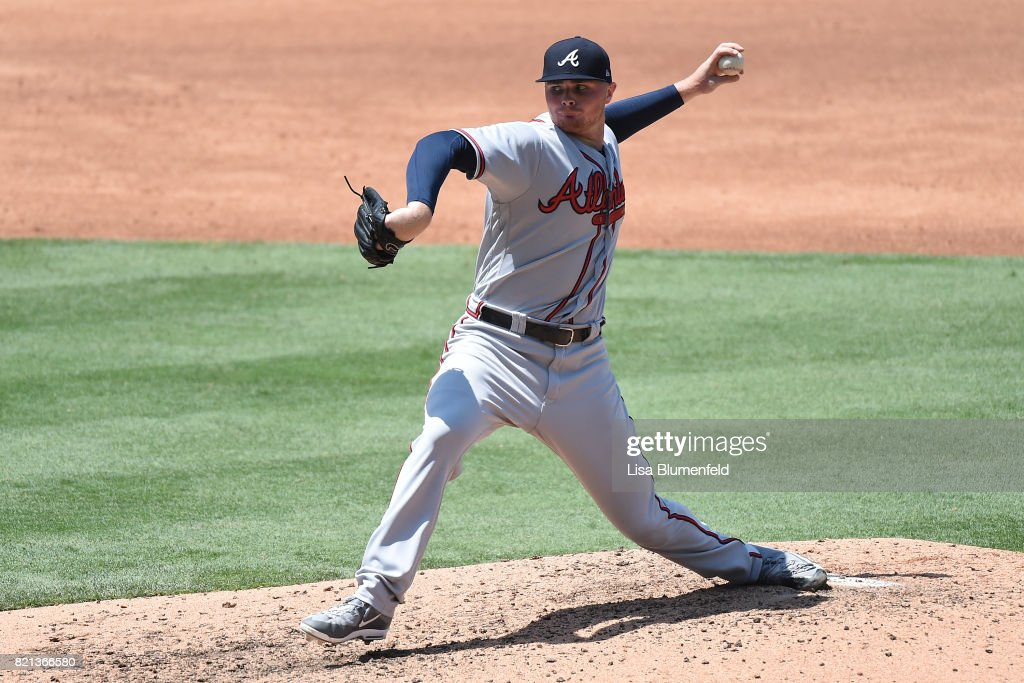 Sean Newcomb #51 of the Atlanta Braves pitches against the Los Angeles Dodgers at Dodger Stadium on July 23, 2017 in Los Angeles, California.