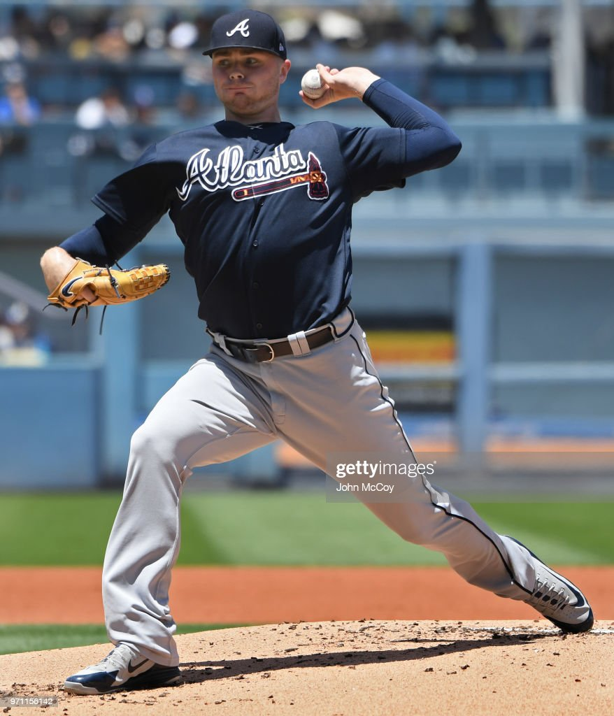 Sean Newcomb #15 of the Atlanta Braves pitches against the Los Angeles Dodgers in the first inning at Dodger Stadium on June 10, 2018 in Los Angeles, California.