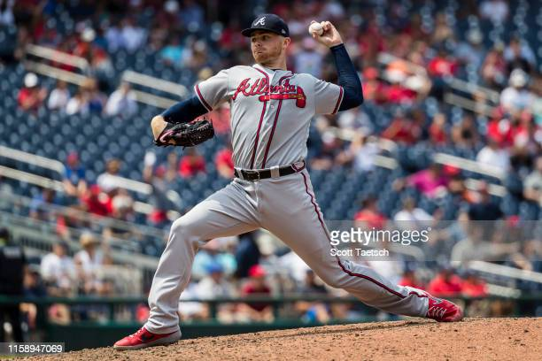 Sean Newcomb of the Atlanta Braves pitches against the Washington Nationals during the ninth inning at Nationals Park on July 31, 2019 in Washington,...