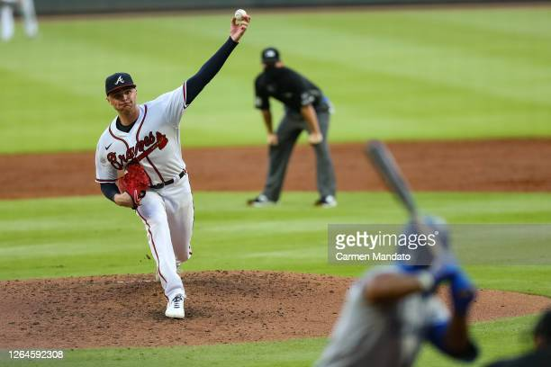Sean Newcomb of the Atlanta Braves pitches during a game against the Toronto Blue Jays at Truist Park on August 5, 2020 in Atlanta, Georgia.