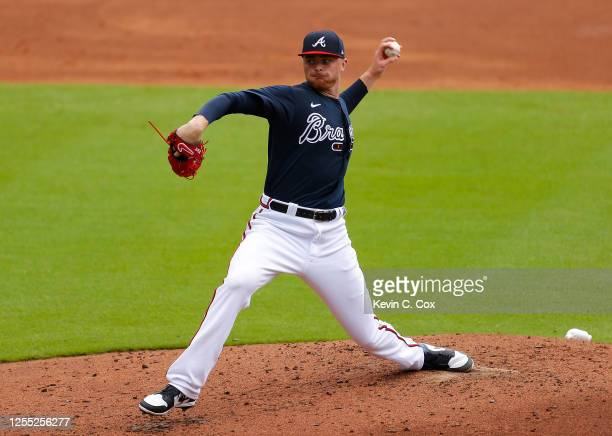 Sean Newcomb of the Atlanta Braves pitches during summer workouts at Truist Park on July 09, 2020 in Atlanta, Georgia.