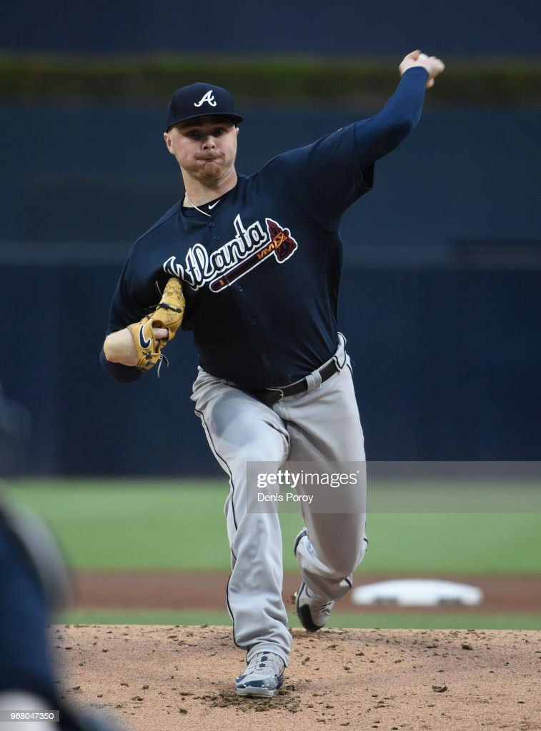 Sean Newcomb #15 of the Atlanta Braves pitches during the first inning of a baseball game against the San Diego Padres at PETCO Park on June 5, 2018 in San Diego, California.