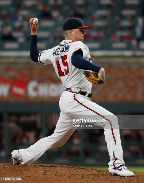 Sean Newcomb of the Atlanta Braves pitches in the fifth inning against the Chicago Cubs on April 01, 2019 in Atlanta, Georgia.