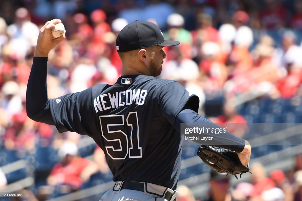 Sean Newcomb #51 of the Atlanta Braves pitches in the first inning during a baseball game against the Washington Nationals at Nationals Park on July 9, 2017 in Washington, DC.