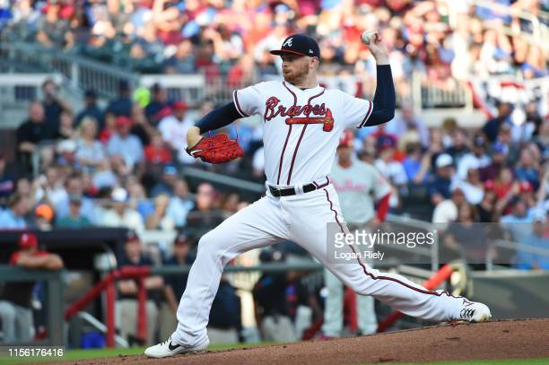 Sean Newcomb of the Atlanta Braves pitches in the first inning against the Philadelphia Phillies at SunTrust Park on June 15, 2019 in Atlanta,...