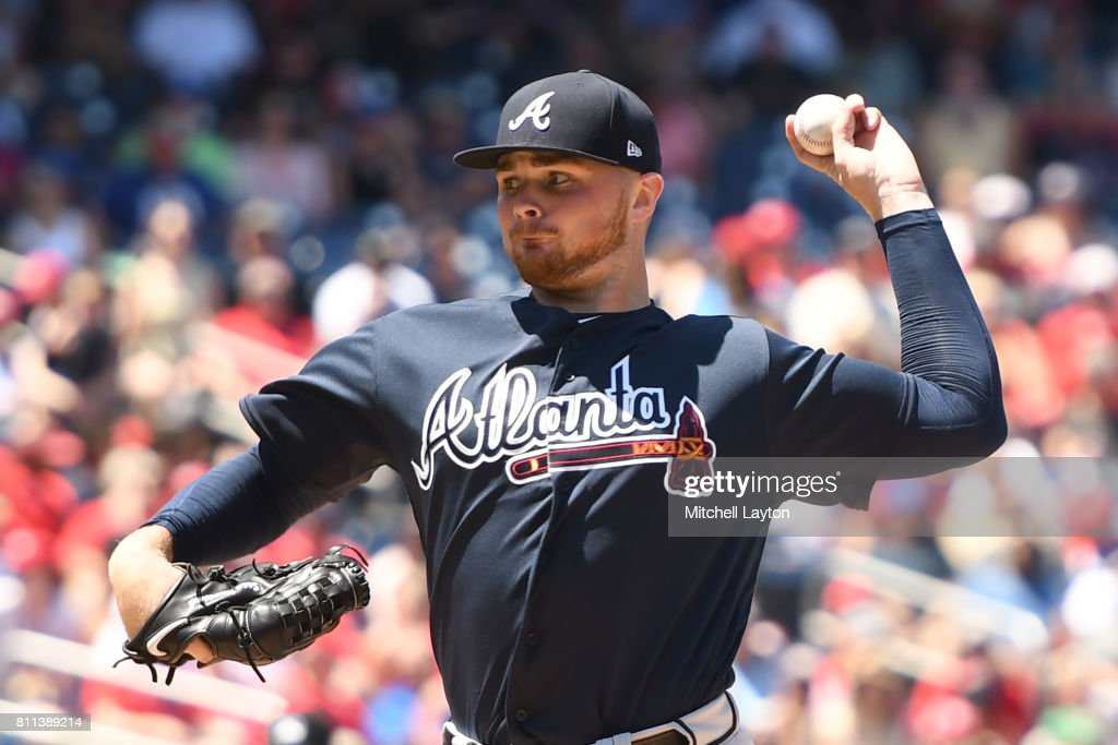 Sean Newcomb #51 of the Atlanta Braves pitches in the second inning during a baseball game against the Washington Nationals at Nationals Park on July 9, 2017 in Washington, DC.