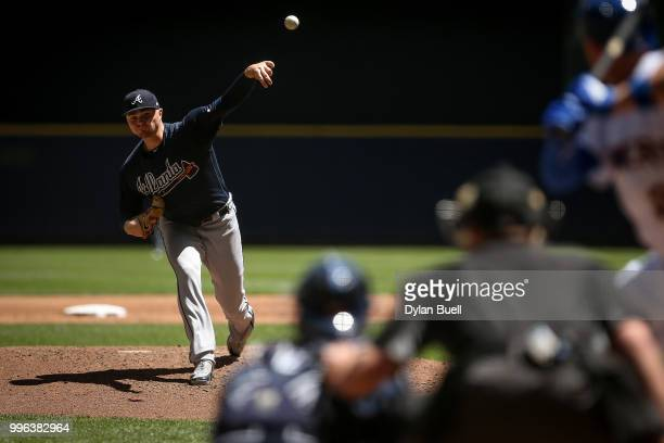 Sean Newcomb of the Atlanta Braves pitches in the second inning against the Milwaukee Brewers at Miller Park on July 8, 2018 in Milwaukee, Wisconsin.