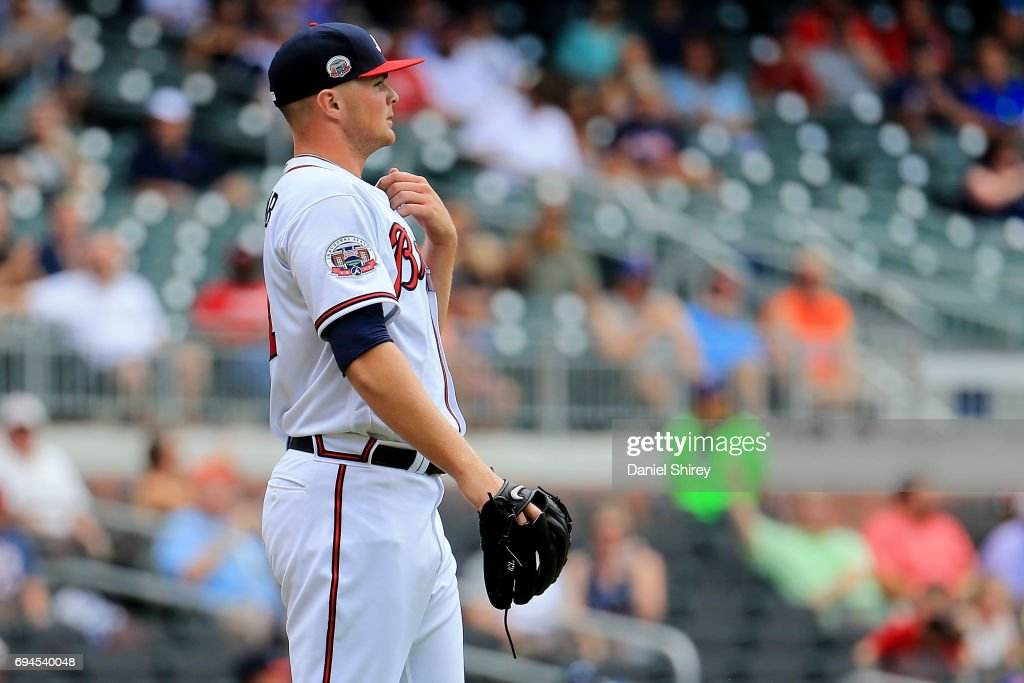 Sean Newcomb #51 of the Atlanta Braves reacts to a strike out during the first inning against the New York Mets at SunTrust Park on June 10, 2017 in Atlanta, Georgia.