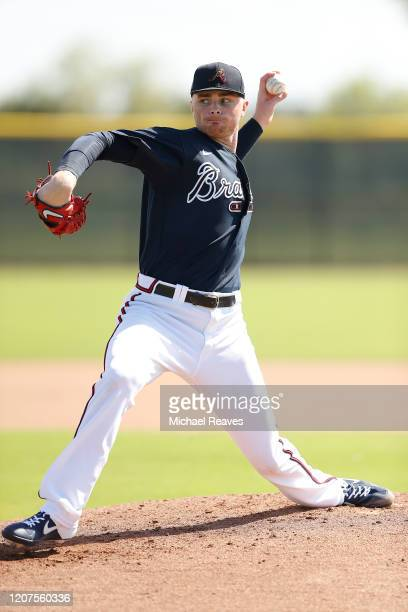 Sean Newcomb of the Atlanta Braves throws a live batting practice session during a team workout at CoolToday Park on February 20, 2020 in Venice,...