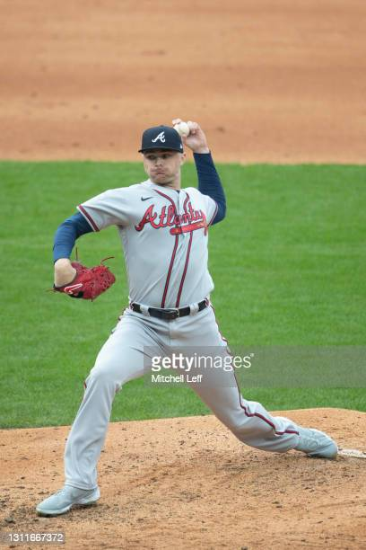 Sean Newcomb of the Atlanta Braves throws a pitch against the Philadelphia Phillies at Citizens Bank Park on April 3, 2021 in Philadelphia,...