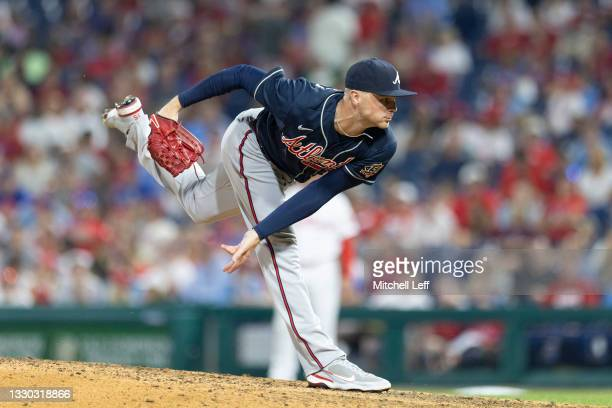 Sean Newcomb of the Atlanta Braves throws a pitch against the Philadelphia Phillies at Citizens Bank Park on July 23, 2021 in Philadelphia,...