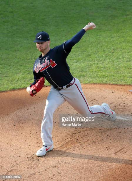 Sean Newcomb of the Atlanta Braves throws a pitch during a game against the Philadelphia Phillies at Citizens Bank Park on August 10, 2020 in...