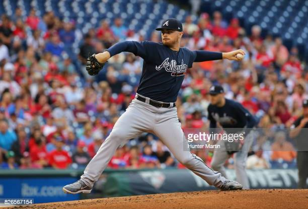Sean Newcomb of the Atlanta Braves throws a pitch during a game against the Philadelphia Phillies at Citizens Bank Park on July 29, 2017 in...