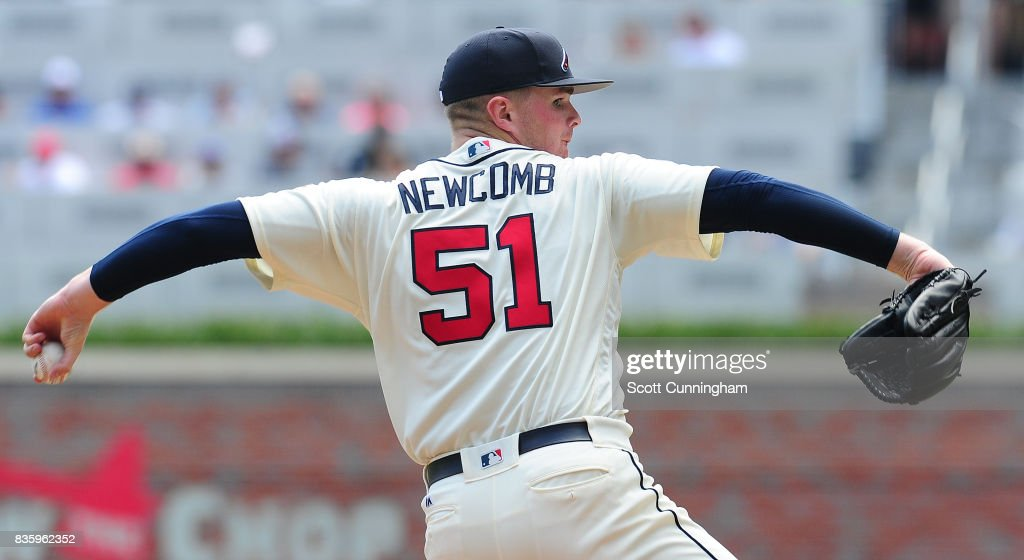 Sean Newcomb #51 of the Atlanta Braves throws a third inning pitch against the Cincinnati Reds at SunTrust Park on August 20, 2017 in Atlanta, Georgia.