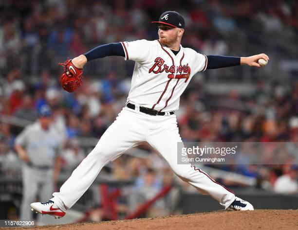 Sean Newcomb of the Atlanta Braves throws an seventh inning pitch against the Kansas City Royals at SunTrust Park on July 24, 2019 in Atlanta,...