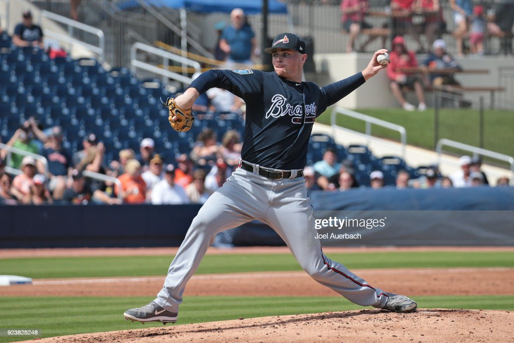 Sean Newcomb #15 of the Atlanta Braves throws the ball against the Houston Astros during a spring training game at The Ballpark of the Palm Beaches on February 24, 2018 in West Palm Beach, Florida.