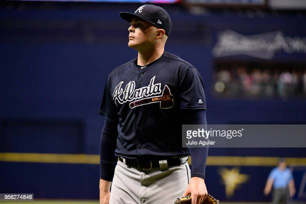 Sean Newcomb of the Atlanta Braves walks off the field after the third inning against the Tampa Bay Rays on May 8, 2018 at Tropicana Field in St...
