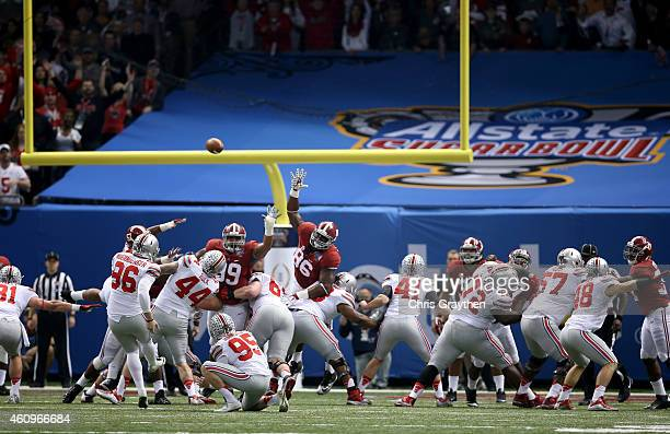 Sean Nuernberger of the Ohio State Buckeyes kicks a field goal in the first quarter against the Alabama Crimson Tide during the All State Sugar Bowl...