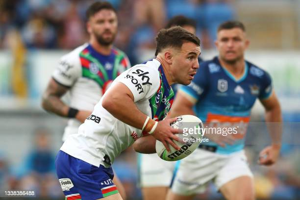Sean O' Sullivan of the Warriors runs the ball during the round 25 NRL match between the Gold Coast Titans and the New Zealand Warriors at Cbus Super...