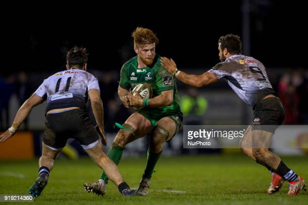 Sean O'Brien of Connacht tackled by Guglielmo Palazzani and Rory Parata of Zebre during the Guinness PRO14 Round 15 match between Connacht Rugby and...
