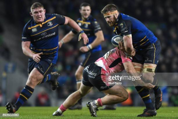 Sean OBrien of Leinster team in action challenged by Sam Simmonds of Exeter Chiefs during the European Rugby Champions Cup rugby match at Aviva...