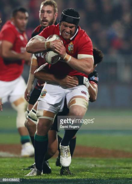 Sean O'Brien of the Lions charges upfield during the 2017 British Irish Lions tour match between the Crusaders and the British Irish Lions at the AMI...