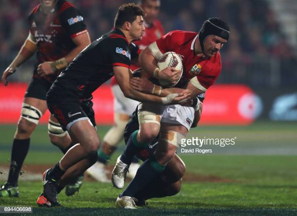 Sean O'Brien of the Lions is tackled by David Kaetau Havili of the Crusaders during the 2017 British Irish Lions tour match between the Crusaders and...