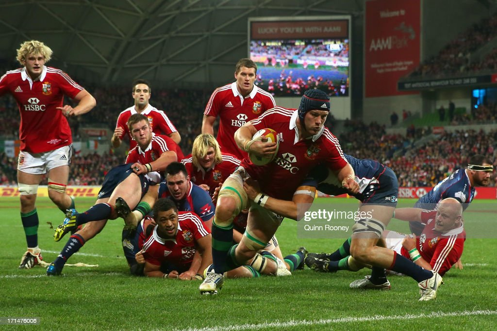 Sean O'Brien of the Lions scores a try during the International Tour Match between the Melbourne Rebels and the British & Irish Lions at AAMI Park on June 25, 2013 in Melbourne, Australia.