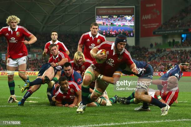 Sean O'Brien of the Lions scores a try during the International Tour Match between the Melbourne Rebels and the British Irish Lions at AAMI Park on...