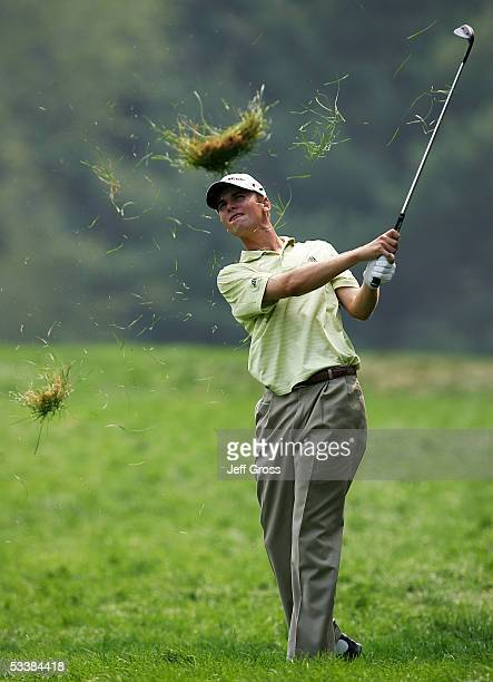 Sean O'Hair hits a shot from the rough on the 14th hole during the third round of the 2005 PGA Championship at Baltusrol Golf Club on August 13, 2005...