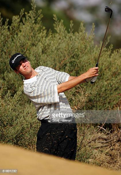Sean O'Hair hits a shot on the eighth hole during the final round of PGA Tour Qualifying Tournament at PGA West December 6, 2004 in La Quinta,...