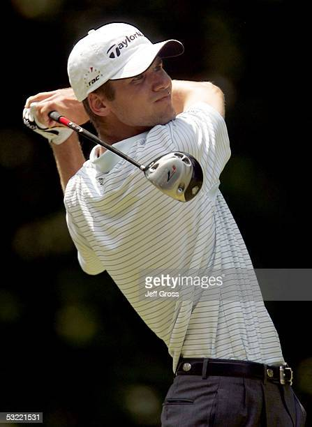 Sean O'Hair hits a tee shot on the 17th hole during the final round of the John Deere Classic at TPC at Deere Run on July 10 2005 in Silvis Illinois