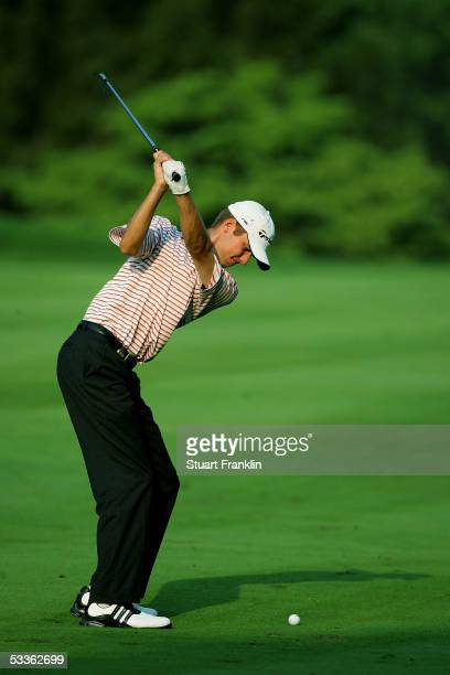 Sean O'Hair hits his approach shot on the 18th hole during the second round of the 2005 PGA Championship at Baltusrol Golf Club on August 12, 2005 in...