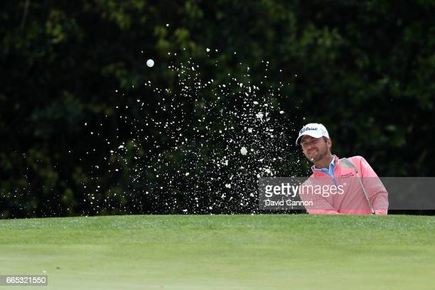 Sean O'Hair of the united states plays a shot from a greenside bunker on the fifth hole during the first round of the 2017 Masters Tournament at...