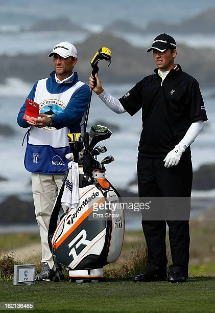 Sean O'Hair pulls a club during the second round of the ATT Pebble Beach National ProAm at the Monterey Peninsula Country Club on February 8 2013 in...
