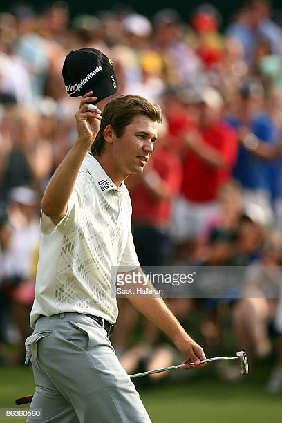 Sean O'Hair waves to the gallery as he walks to the 18th green during the final round of the Quail Hollow Championship at the Quail Hollow Club on...