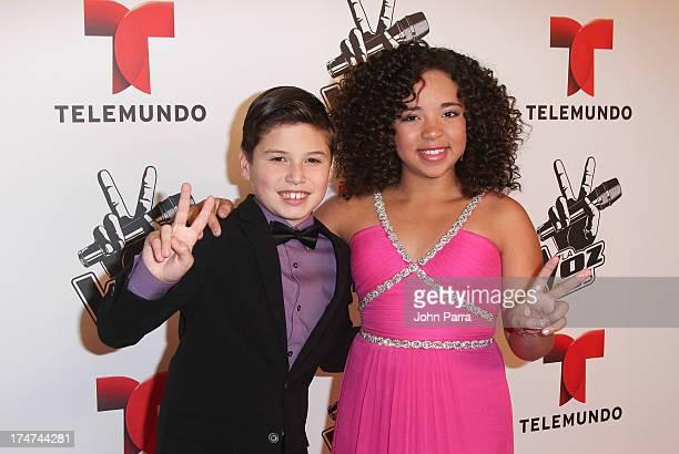 Sean Oliu and Paola Guanche attend Telemundo's La Voz Kids Finale on July 27 2013 in Miami Florida