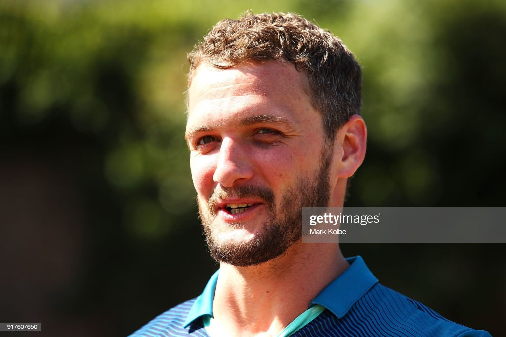 Sean O'Loughlin of the Wigan Warriors speaks to the media during a rugby league international double header media opportunity at Blues Point Reserve on February 13, 2018 in Sydney, Australia.