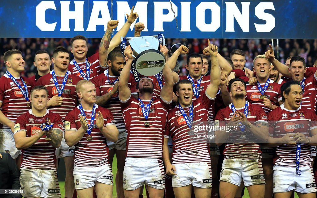 Sean O'Loughlin of Wigan Warriors lifts the trophy during the Dacia World Club Challenge match between Wigan Warriors and Cronulla-Sutherland Sharks at DW Stadium on February 19, 2017 in Wigan, England.