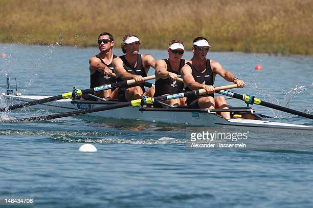 Sean O`Neil Chris Harris Tyson Williams and Jade Urs of New Zealand compete in the Men´s Four heats during the 2012 Samsung World Rowing Cup III at...