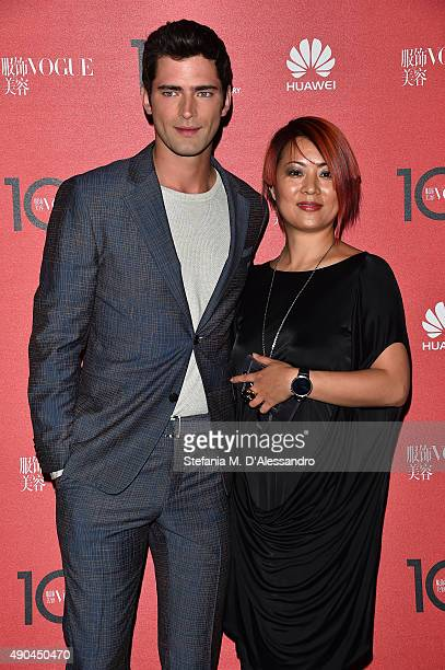 Sean O'Pry and Amy Lou attends Vogue China 10th Anniversary at Palazzo Reale on September 28 2015 in Milan Italy