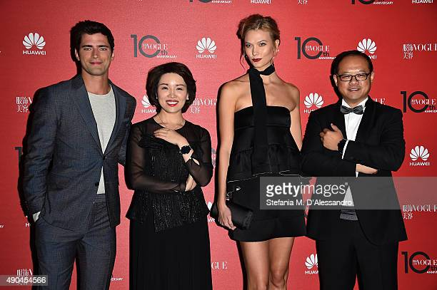 Sean O'Pry Glory Zhang Karlie Kloss and Peng Bo attend Vogue China 10th Anniversary at Palazzo Reale on September 28 2015 in Milan Italy
