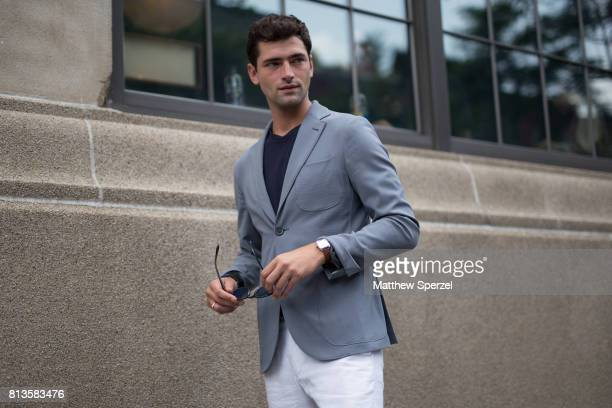 Sean O'Pry is seen attending Deveaux at EN Japanese Brasserie during Men's New York Fashion Week wearing ESM on July 12, 2017 in New York City.