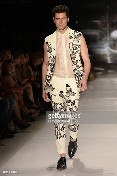 Sean O'Pry walks during the Colcci show at Sao Paulo Fashion Week Summer 2014/2015 at Parque Candido Portinari on April 2 2014 in Sao Paulo Brazil