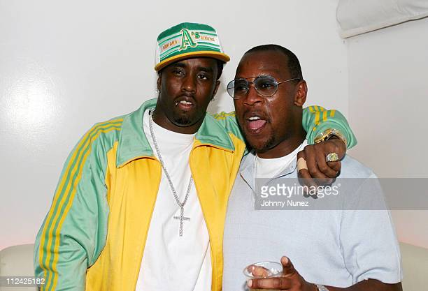 Sean P Diddy Combs and Andre Harrell during Sean P Diddy Combs' Fourth of July East Hampton Party at The Resort in East Hampton New York United States