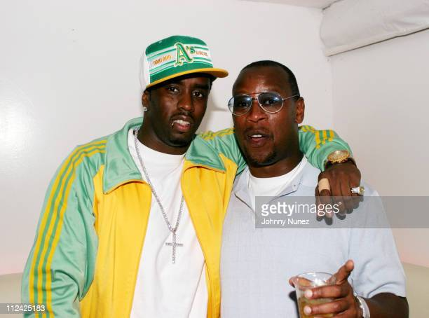 Sean 'P Diddy' Combs and Andre Harrell during Sean 'P Diddy' Combs' Fourth of July East Hampton Party at The Resort in East Hampton New York United...