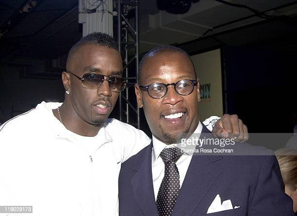 Sean P Diddy Combs and Andre Harrell during Sean P Diddy Combs Runs the City PreMarathon Dinner at Metropolitan Pavilion in New York City New York...