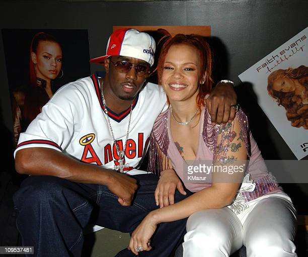 Sean P Diddy Combs and Faith Evans during Faith Evans album release party for her new CD Faithfully at Saci Club in New York City New York United...