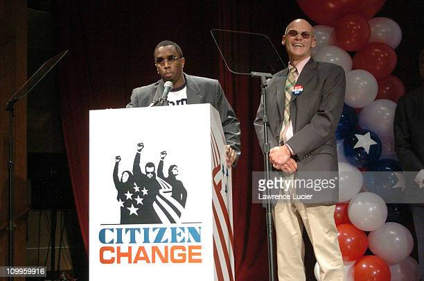 Sean P Diddy Combs and James Carville during Sean P Diddy Combs Announces his Plans for Citizen Change 2004 at Skirball Center in New York City New...