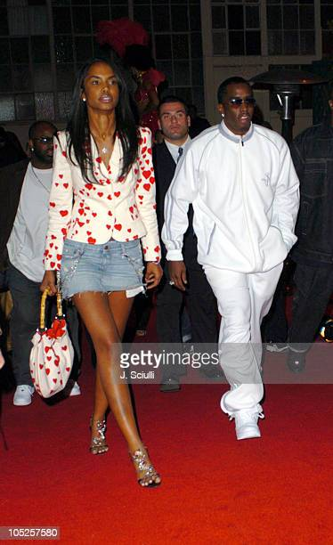 Sean 'P Diddy' Combs and Kim Porter during Reebok JayZ Baron Davis and Belvedere Vodka Host NBA After Party at The Lot in Los Angeles California...